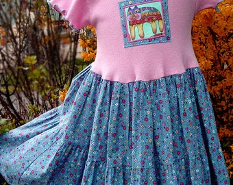 Pink & Blue Girls Dress Girl Toddler Cotton Dress Fall Childrens Clothes Appliqued Kids Cat Clothes Girl Tiered Twirl Dress Toddler-Tween 14