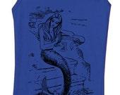 mermaid t-shirt - women's t-shirts - vintage t-shirt - mermaid tank top - vintage design MERMAID shirt - royal blue women's tank top