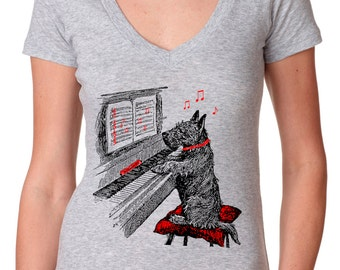dog shirt - womens tshirts - music shirt - piano shirt - piano gifts - dog lover tshirt - music gifts - music tshirts -NOTEWORTHY deep vneck