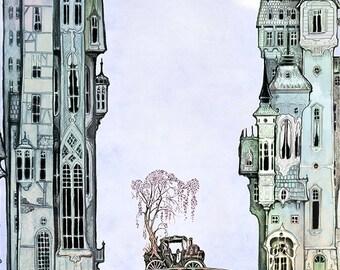 Victorian City Bridge - giclée Fantasy Art Print  -Victorian City Art PRINT  - blue - silver - twilight  - Fairy Tale Art by the Filigree