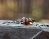 Chandelier Earrings Bohemian Yellow Amber Czech Glass Beaded  - Golden Autumn.