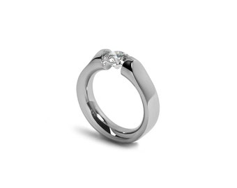 White Sapphire Engagement Ring Tension Set in Stainless Steel