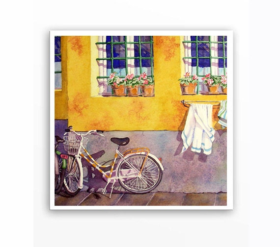 Christmas Gift Bike Art / Watercolor PRINT / Italian road trip watercolour painting / Artwork gift mom Yellow color field / Florence Italy T