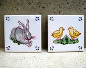 50s Tiles Trivets Wall Hangs Lot Vintage Home Decor Rabbit Chicks Chickens