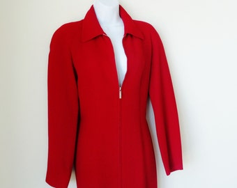 Red Coatdress - Jacket - Merino Wool - Ralph Lauren Collection - Scarlet - RL - 70s - Purple Label - Wiggle -Body Hugging - Recycled - Rare