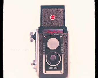 Camera Photograph - Kodak Duaflex - vintage camera print - The Duaflex  - retro wall art, home decor, red, black, silver,