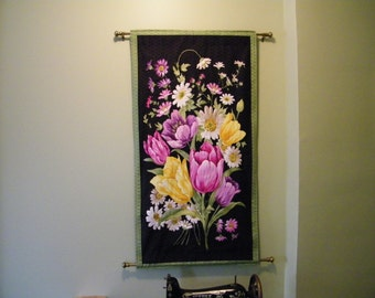 Quilted, Floral Wall Hanging with Swarovski Crystals