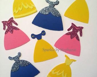"Disney Princess Die Cuts -  2.5"" Dresses - Cinderella, Belle, Snow White & Sleeping Beauty (Aurora) - Set of 24+"