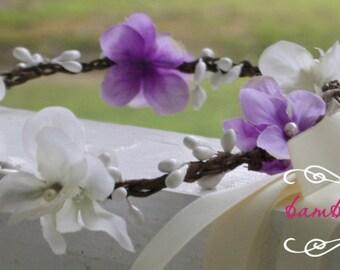 Ivory Flower Hair Wreath, lavender flower hair wreath, flower girl head piece, flower girl headband,  flower girl hair accessories