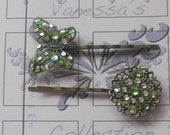 Green Ice Crystal Hair Pin Butterfly Flower - Accessories - Peridot Bobby Pins Set - Special Occasion Accessory