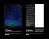 "5 CARDS & Envelopes Set ""Moon Kisses"" Mini Art Prints Postcards From Original Painting by Fae Factory Visionary Artist Dr Franky Dolan Stars"