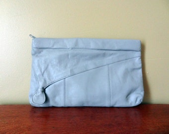 Grey Leather Clutch Vintage Purse