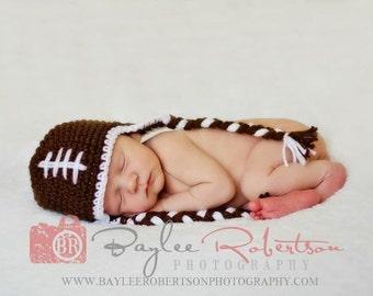 FOOTBALL Earflap Hat SOO CUTE- Customized Boy or Girl -Preemie-4T/Photography Prop/cbbcreations
