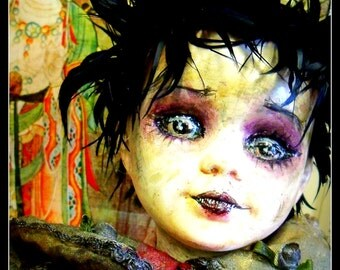 Beautifully melancholy Art doll, spooky, haunted girl. Post XMAS Sale!