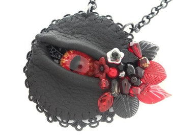 Gothic Eye Necklace- LaGrand Sightmares ™ © Blood Born Red and Yellow Eye in Black Lacework with Crystals and Beads by Dr Brassy Steampunk