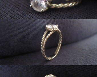 Diamond Twisted Rope Engagement ring, Oval Diamond Engagement ring, Solid 14k Gold, Engagement Ring, Oval Natural Diamond Ring, Rope Ring