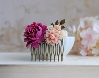 Plum Violet Rose Dusky Pink Ivory Flower Wedding Bridal Hair Comb. Flow Floral Collage Hair Comb. Bridesmaid Hair Comb