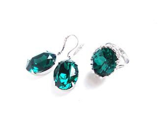 CUSTOM COLOR SET // Emerald Green Swarovski Crystal 925 Silver or 24K Gold Plated Earrings and Swarovski  Oval Cocktail  Adjustable Ring