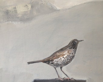 "Bird painting 'Coming Up For Air ':  12"" x 10"""