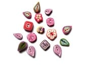 Flower Leaf polymer clay buttons - multicolored Set of 16 - purple pink green - mini buttons DIY supply, polymer clay cannes - boutons fimo