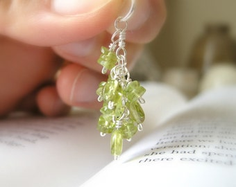 Cascade Collection: Peridot Glow Chandelier Cluster Pendant / Vibrant Bright Lime Green, August Birthstone, Gifts Under 30
