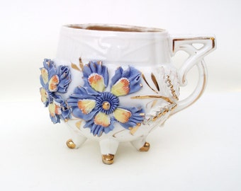 Antique Porcelain Mug, Footed Tea Cup, Victorian Mug, 3D Flowers, Purple Porcelain Flowers