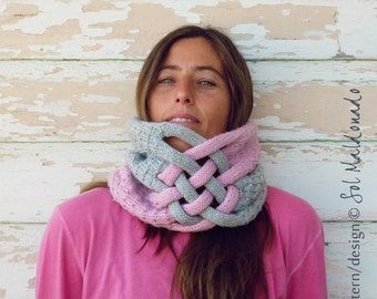 Cowl Knit Pattern - Weave scarf cowl neckwarmer - Instant DOWNLOAD