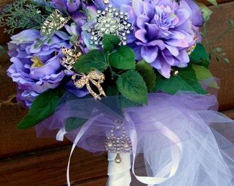Brooch Bouquet Purple Woodland wedding bouquet