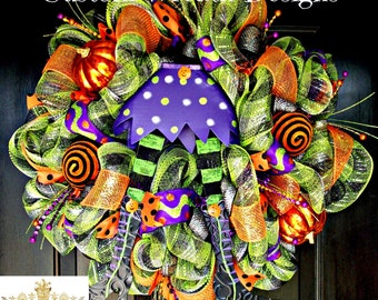 Halloween Wreath with Witch Legs