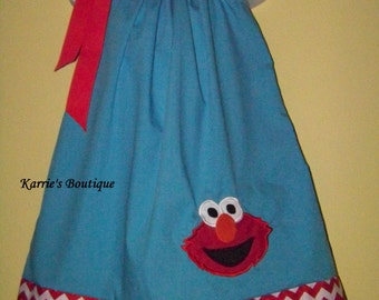 Elmo Pillowcase Dress / 123 Sesame Street / Big Bird / Red Chevron & Blue / Newborn / Infant / Girl / Baby / Toddler / Boutique Clothing