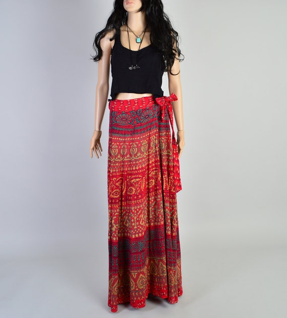 1970s india cotton wrap skirt vintage maxi skirt by