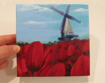 Spring, TULIPS, ORIGINAL Painting, Windmill, Red Flowers, Field, Dutch, Holland, Landscape, Red Tulips, Red and Blue, Blue Sky