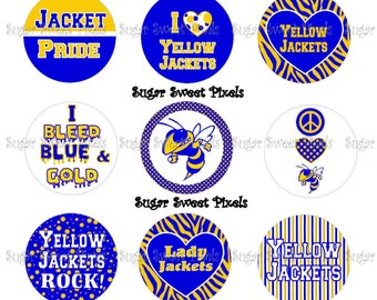 INSTANT DOWNLOAD Blue Gold Yellow Jackets School Mascot 1 inch circle Bottlecap Images