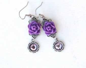Rose Earrings Purple Rose Jewelry Vintage Style Jewelry Filigree Earrings Romantic Jewelry Gifts For Her Under 25 Jewelry Gift for Women