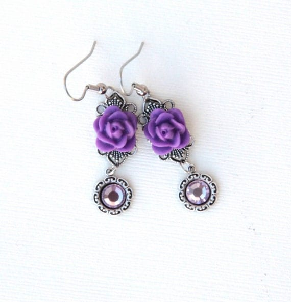 Rose Earrings Purple Rose Jewelry Vintage Style Jewelry Filigree Earrings Romantic Jewelry Gifts For Her Under 30 Jewelry Gift for Women