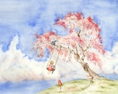 """Girl on a Sakura Tree Swing with Cats  -  Watercolor  Art Print 8""""x10'' -  fantasy, Nursery, baby shower, Whimsical , cottage, art"""