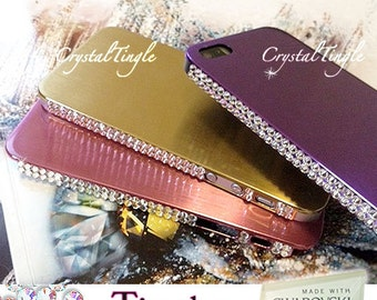Exquisite Bling Aluminum Metallic iPhone SE 5s Back Cover Case Made w/ 100% Genuine SWAROVSKI Elements Clear White Crystal Diamonds