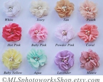 Single Chiffon Flower Baby Girl Headband - Soft Little Flower Hair Bows Available in Many Colors
