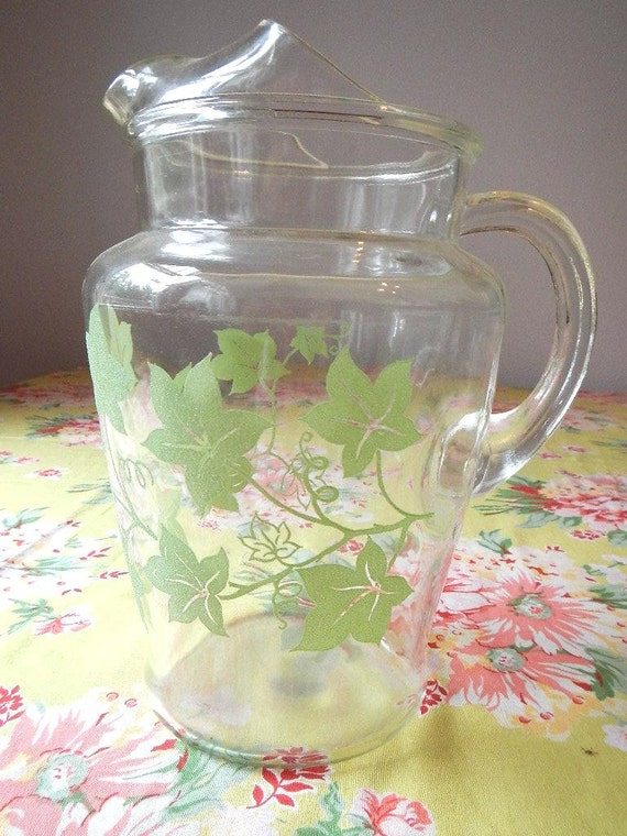 FREE SHIPPING Vintage Glass Beverage Pitcher Sugary Texture Jadite Jadeite Green Ivy Leaf Print Design