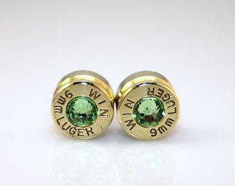 Bullet Earrings. August Birthstone. Peridot . 9mm Luger