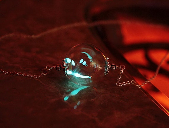 Tiny Dragonfly GLOW in the DARK inserted in Hand Blown Glass Bead