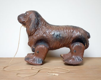 Vintage Dog Pull Toy, Paper Mache, See-Em-Walk Noma Product, Made in USA, Display, Prop