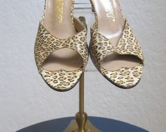"1980's ""Daisy"" Leopard Print High Heels Shoes / ""Dead Stock""  - size 7 Narrow"