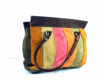 Boho Striped Leather Handbag - Colorblock Boho Bag - 70s Hippie Purse - Small Handbag