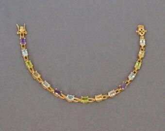 Sterling Tennis Bracelet Gold Vermeil Semi Precious Stones .925
