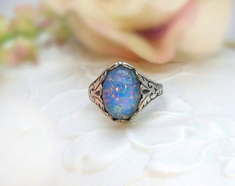 Silver Opal Ring - Blue Fire Opal -  Antique Silver Plated