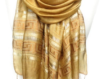 Gold Scarf. Sparkly Scarf. Shimmering Viscose Scarf. Meander Pattern. Metallic Yellow Scarf. Greek Line Scarf. 20x70in (50x180cm) Ready2Ship