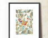 Geometric Art Wall Decor, Geometric Art Print. Bird Abstract Poster A3. Colorful, Fragmented Bird Illustration, by TANGRAMartworks