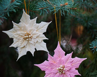 White and Pink Poinsettias - Christmas Tree Ornaments - Christmas Gift