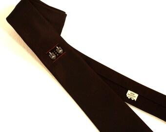 1960s Men's Skinny Necktie Brown 100% Dacron